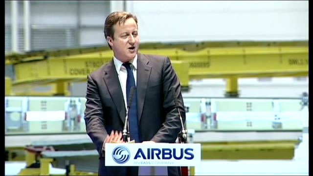New Airbus factory opens in Wales David Cameron visit David Cameron introduced to audience at opening ceremony David Cameron speech to opening...