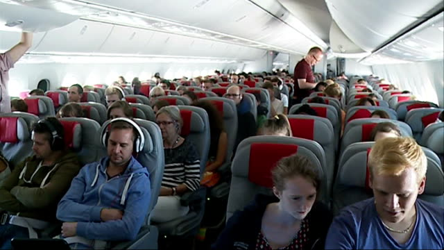 Norwegian Air launches budget flights to the USA 372014 ENGLAND West Sussex Gatwick Airport EXT Cheerleaders / dancing girls 'dance' on runway in...