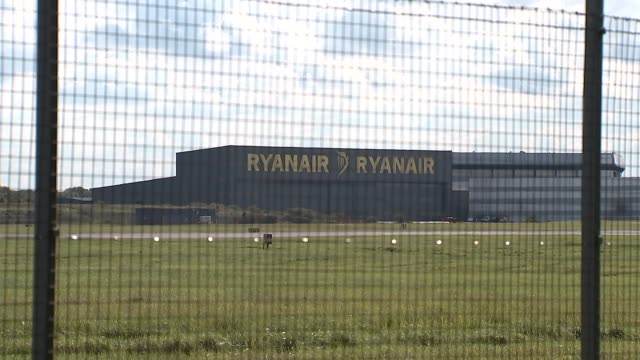 Ryanair aircraft at Stansted Airport ENGLAND Essex Stansted Airport EXT Various shots of Ryanair aircarft on runway taking off and landing / other...