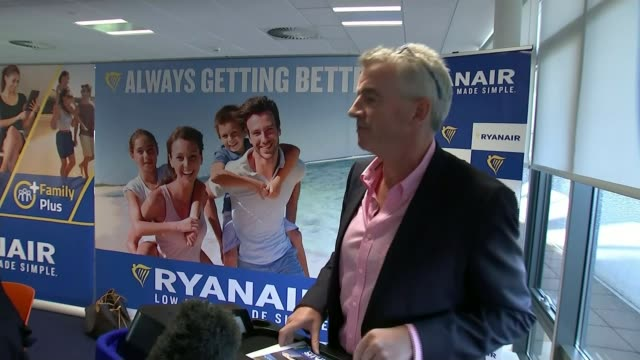 Ryanair make passengers affected by flight cancellations 'fully aware' of rights TX IRELAND Dublin Ryanair HQ INT Various of Michael O'Leary to...