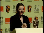 British dominance ENGLAND London Kate Winslet at podium announcing nominees for 51st BAFTA awards