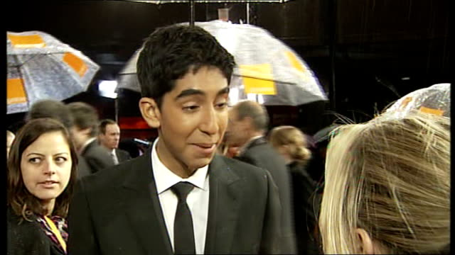 red carpet arrivals and interviews with London Tonight Ron Howard speaking to press on red carpet Dev Patel interview SOT On how he is feeling...