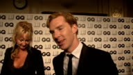 GQ Awards Benedict Cumberbatch interview SOT on getting dressed up doing new HBO show 'Parade's End' on what he is wearing John Taylor as interviewed...