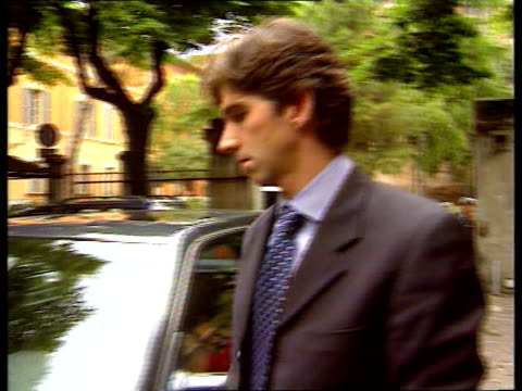 Ayrton Senna death inquest Damon Hill gives evidence ITN ITALY Bologna Damon Hill out of car as arrives at inquest into death on Ayrton Senna Int...