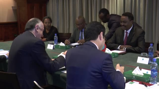 Azerbaijani Foreign Minister Elmar Mammadyarov meets with his Ethiopian counterpart Workneh Gebeyehu in Addis Ababa Ethiopia on November 10 2017 The...
