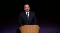 Azerbaijani President Ilham Aliyev delivers a speech during the opening ceremony of 4th World Forum on Intercultural Dialogue in Baku Azerbaijan on...