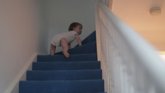 Baby Boy Climbs Stairs