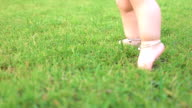 Baby first steps on grass, slow motion, dolly shot.