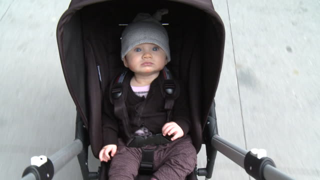 MS HA POV Baby girl (6-11 months) in pram pushed by father, New York City, New York, USA