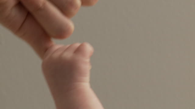 SLO MO CU Baby hand holding mother's finger / Atlanta, Georgia, USA