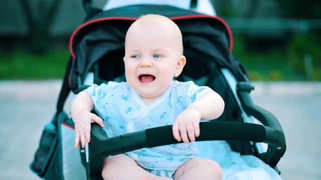 baby in de kinderwagen in park zitten