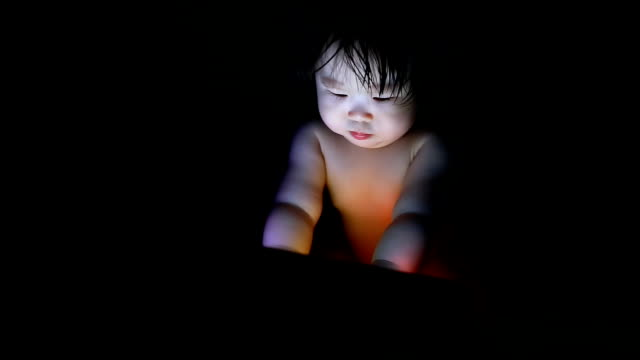 Baby using tablet