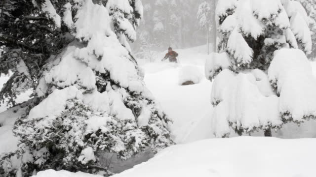 Back country skiing in deep powder snow
