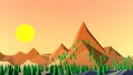 Background with Mountains on sunset