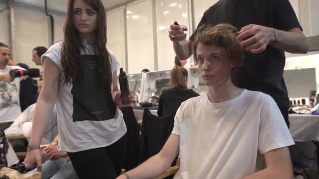CAPSULE backstage at London Collections Men Burberry Prorsum S/S16 Catwalk Show at Perk's Field on June 15 2015 in London England