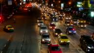 Bad Traffic Jam Of Urban Nigh City