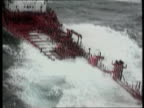 Bad weather LIB Nr Channel Islands EXT AIR VIEW Italian chemical tanker being swamped by high seas