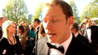 red carpet arrivals Webb interview SOT On outfit and how long it took / On wearing a leotard wears it in private / On new Mitchell Webb series / On...