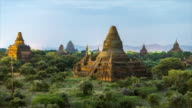 Bagan Archaeological Zone, Pagodas at Night - 4K Time lapse