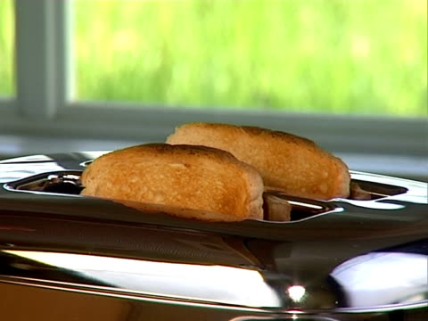 Baked toast ready in toaster