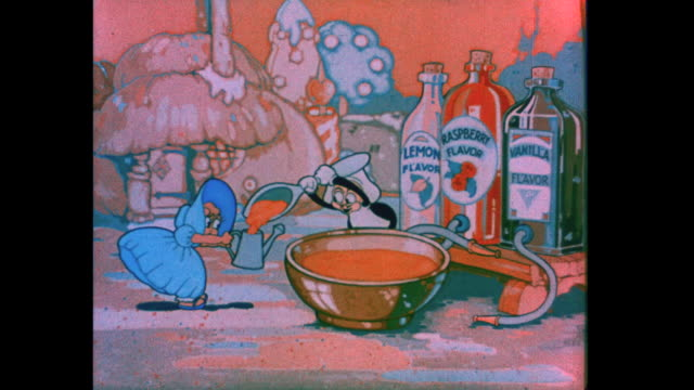 A baker is approached by a bashful woman in blue and fills her watering can with icing
