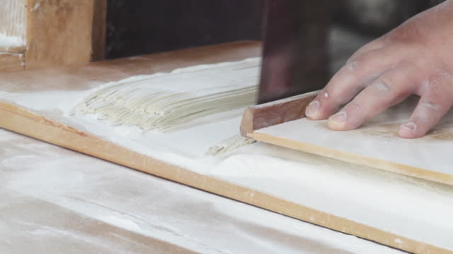 Baker slices dough