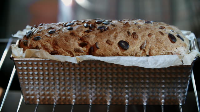 Baking Homemade Seed Bread in the Oven