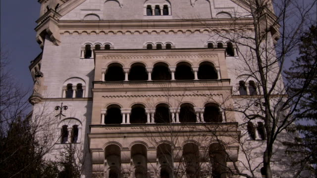 Balconies decorate one end of Neuschwanstein Castle. Available in HD.