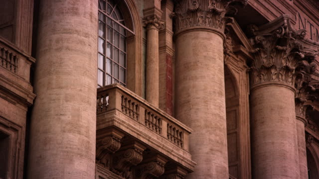 A balcony high on the facade of St Peter's Basilica