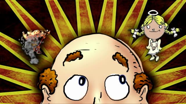 Bald man struggles with his conscience,  colourful background version