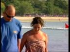 British fireman/Jodie Cearns ITN Kuta LMS amp MS British tourist couple towards along beach Vox pops British tourist GV Swimming pool as one woman...