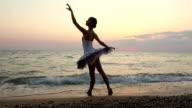 ballerina dancing the night coast
