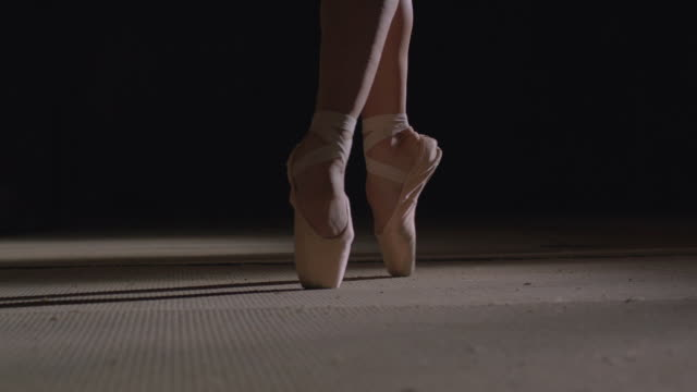 ballerina's feet with point shoes