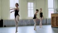 Ballerinas pirouetting in studio