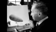 Balloonist and pilot Roy Knabenshue points out fellow aviator Walter Brookins in a photograph / Brookins flying a small biplane / Knabenshue explains...