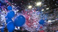 Balloons fall following Hillary Clinton's speech at the DNC Democratic National Convention 2016 at Wells Fargo Center on July 2016 in Philadelphia...