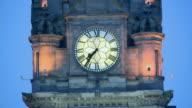 CU, Balmoral Hotel clock tower illuminated at dusk, Scotland, United Kingdom