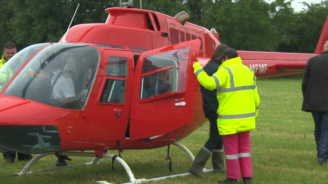 Band Of Skulls arrive in a Helicopter at Glastonbury Festival Band Of Skulls Interview at Glastonbury Festival Site on June 27 2014 in Glastonbury...