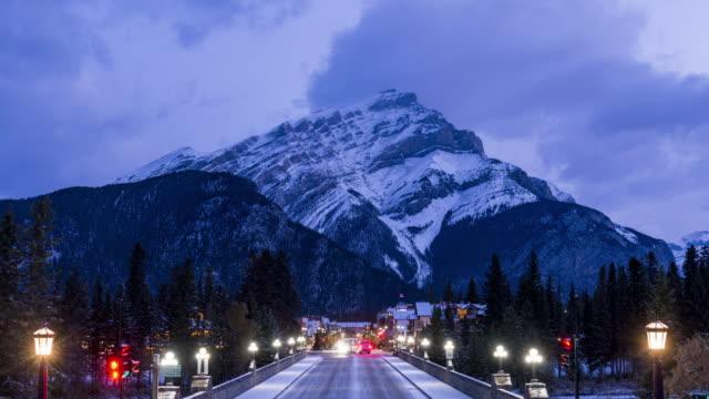 Banff Avenue against Cascade Mountain
