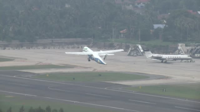 Bangkok Air flight takes off from Ko Samui International Airport on Ko Samui Island in Thailand
