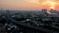 Bangkok City During Sunset : Day To dusk Time-Lapse