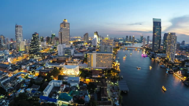 Bangkok downtown skyline river view