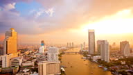 Bangkok Downtown Skylines along Chaophraya River sunset Time Lapse
