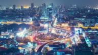 Bangkok night Traffic roundabout Time Lapse 4k.