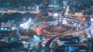 Bangkok Night Kreisverkehr Zeitraffer 4k.