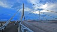 Bangkok Rama-VIII Bridge Time lapse from Day to Night