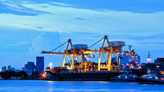 Bangkok Shipyard Arbeiten im Dusk Time Lapse