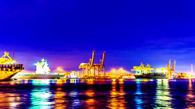 Bangkok Shipyard Working at Dusk Time Lapse