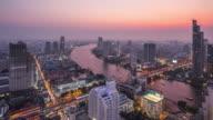 T/L WS HA PAN Bangkok Skyline Day to Night Transition / Bangkok, Thailand
