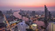 T/L WS HA TD Bangkok Skyline Day to Night Transition / Bangkok, Thailand